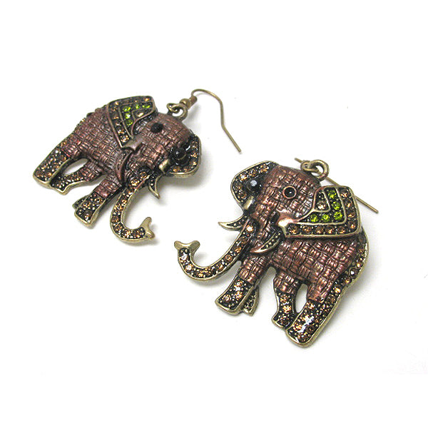 Quilted Indian Elephant with Crystal Antiqued Goldtone Hook Earrings