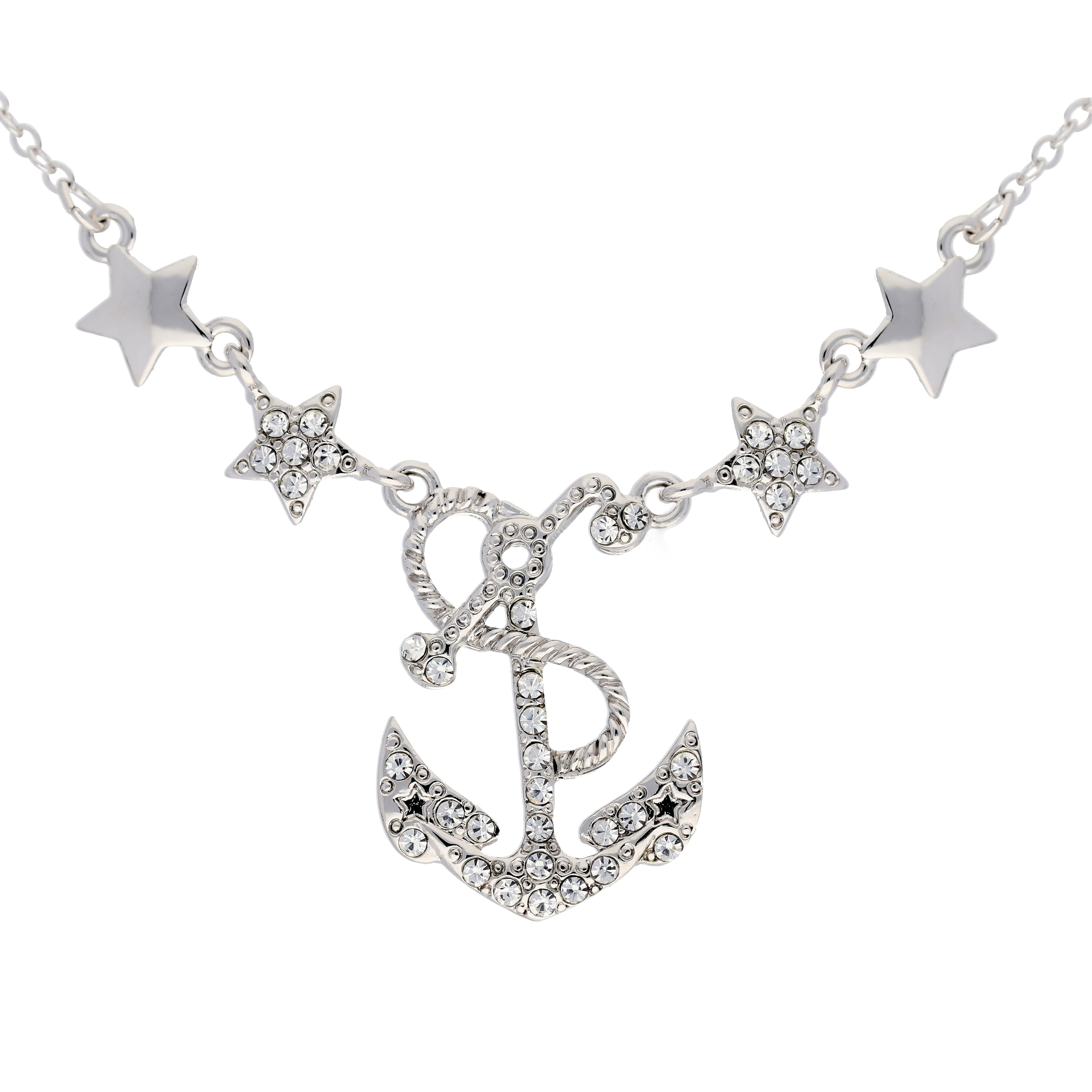 "Sailing Under the Stars - Anchor Necklace Adjustable from 16"" to 18"" Necklace - Silver Insanity"