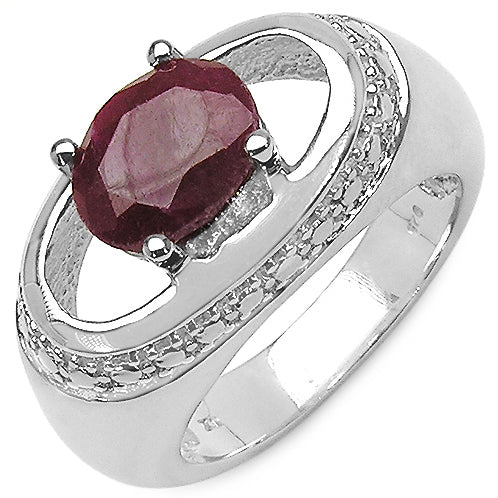 2.5cttw Large Oval Ruby Rhodium Plated Sterling Silver Ring Size 7 - Silver Insanity