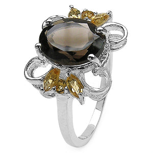 Smoky Topaz & Citrine Butterfly Sterling Silver Cocktail Ring Size 7 - Silver Insanity