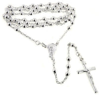 "Thick 5mm Catholic Sterling Silver Rosary Beads 23"" Necklace Crucifix Gift Boxed - Silver Insanity"