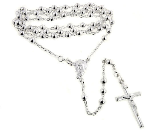 "Catholic Sterling Silver Rosary Beads 24"" Necklace with Crucifix - Silver Insanity"