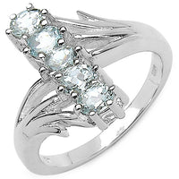 Genuine 5-Stone Aquamarine Gemstone Rhodium Plated Sterling Silver Ring Size 7 - Silver Insanity