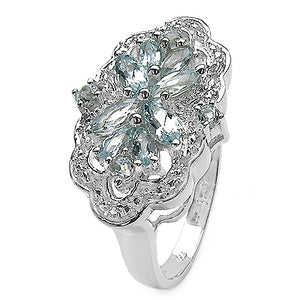 Aquamarine & White Topaz Gemstone Sterling Silver Ring Size 7 - Silver Insanity