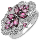 Genuine Rhodolite Garnets and White Topaz Sterling Silver Ring - Silver Insanity