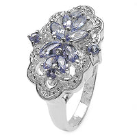 Genuine Tanzanite & White Topaz Sterling Silver Ring Size 7 - Silver Insanity
