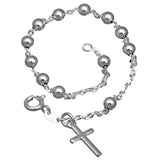 "Catholic Italian Sterling Silver Rosary Beads Cross Bracelet 7.5"" - Silver Insanity"