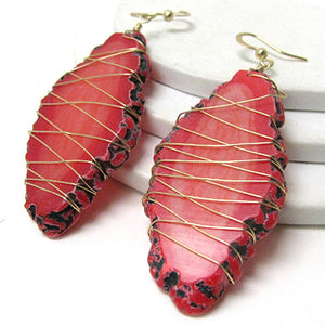Red Agate Slabs Wire Wrapped Goldtone Hook Earrings - Silver Insanity