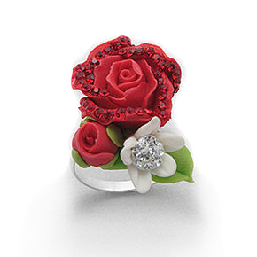 Bouquet of Roses - Japanese Clay Flower Sterling Silver Ring - Silver Insanity