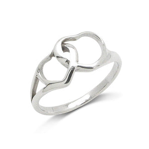 Interlocking Mom and Baby Heart Sterling Silver Love and Devotion Ring - Silver Insanity