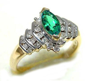 3/4ct Marquise Cut Lab Emerald and Genuine Diamond 10K Yellow Gold Ring Size 7 - Silver Insanity
