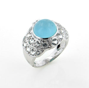 Genuine Blue Chalcedony and White Topaz 10K White Gold Ring Size 7 - Silver Insanity