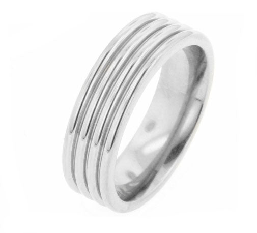 Mens Ridged Ripple Titanium Wedding Band Ring - Silver Insanity