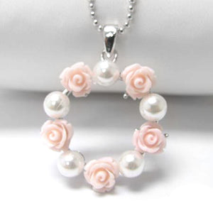 "Pink Rose and Pearl Wreath Pendant White Gold Plated Necklace 16"" - Silver Insanity"