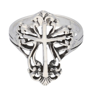 Sterling Silver Victorian Style Open Cross Ring - Silver Insanity