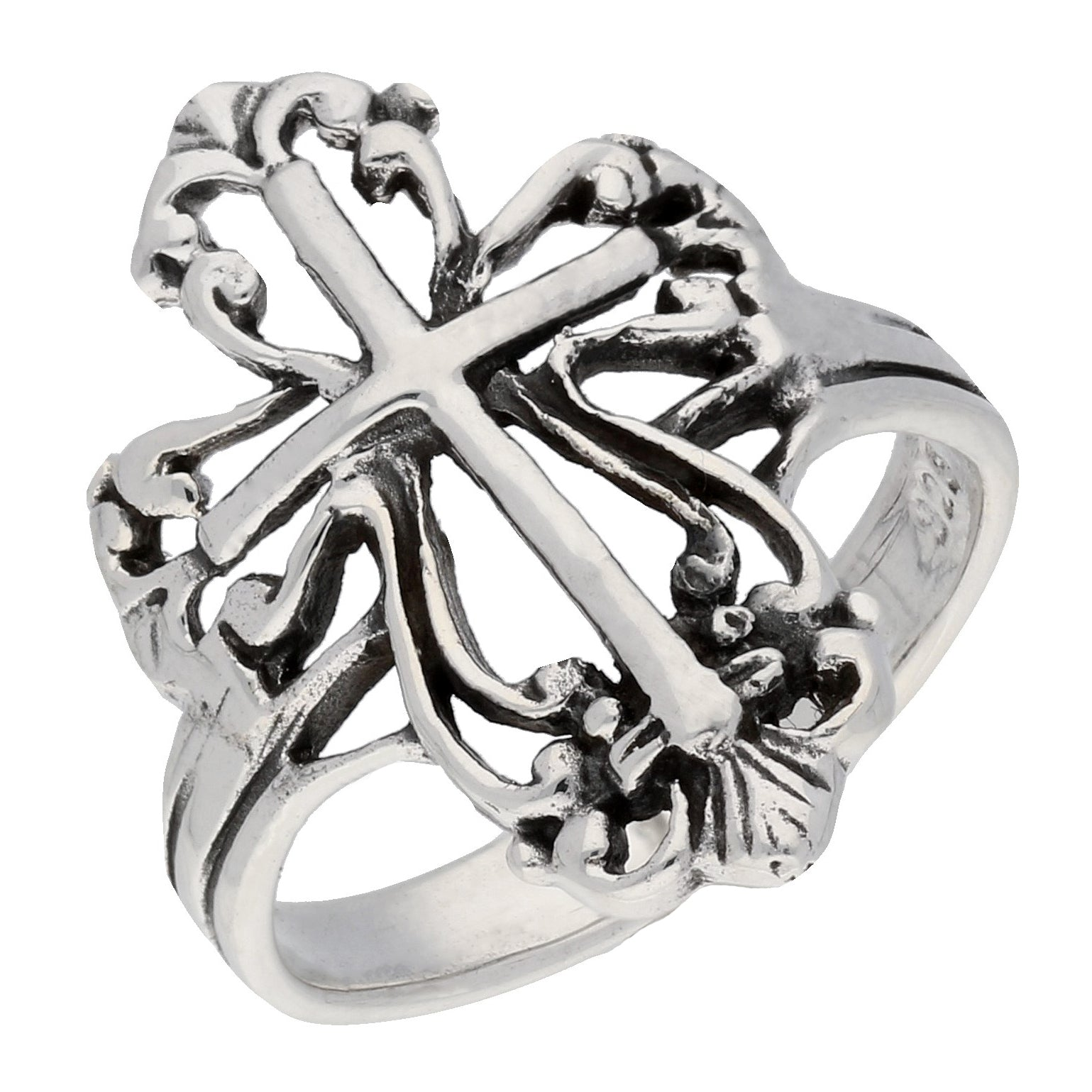 Sterling Silver Victorian Style Open Cross Ring