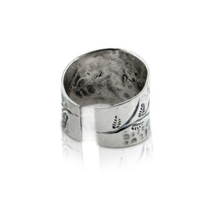 Flower Sprig Hammered Finish Adjustable Thumb Ring Sterling Silver - Silver Insanity