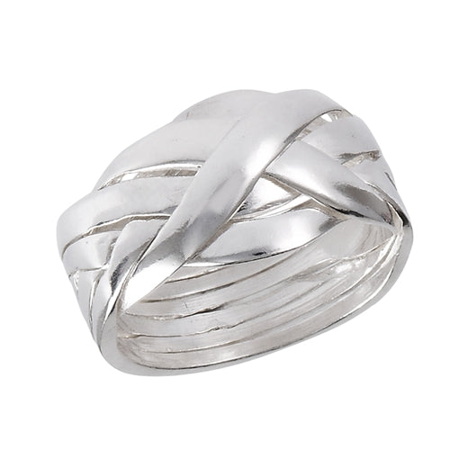 Large Sterling Silver 6-Band Weave Puzzle Ring Size 6 - Silver Insanity