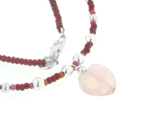 "Sterling Silver Rose Quartz Heart and Red Seed Beaded 16"" Choker Necklace - Silver Insanity"
