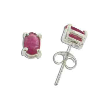 4x6mm Genuine Pink Ruby Sterling Silver Post Stud Earrings