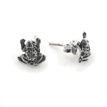 Tiny Little Hopping Frog Studs  - Sterling Silver Post Earrings - Silver Insanity