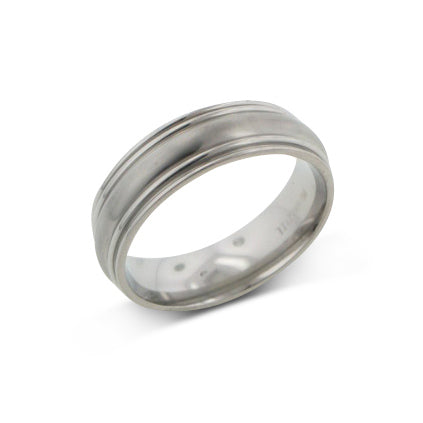 Mens Saturn Style Aircraft Grade Titanium Wedding Band Ring - Silver Insanity