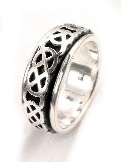 Mens Sterling Silver Motion CELTIC KNOT Spin Ring