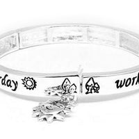 Dream of Tomorrow Silver Tone Stretch Bangle Bracelet - Silver Insanity