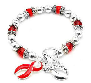 AIDS Awareness Ribbon Red Stretch Heart Toggle Bracelet - Silver Insanity