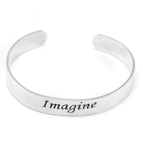 Imagine Inspirational Message Silver Tone Metal Adjustable Cuff Bracelet - Silver Insanity