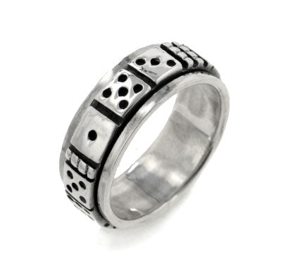 8mm Spinning Sterling Silver Gambling Dice Spin Band Ring - Silver Insanity