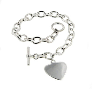 "Sterling Silver Small Heart Charm Toggle Rolo Bracelet - 7"" - Silver Insanity"