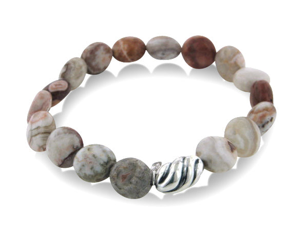 Genuine Beaded Crazy Lace Agate and Sterling Silver Stretch Bracelet - 7