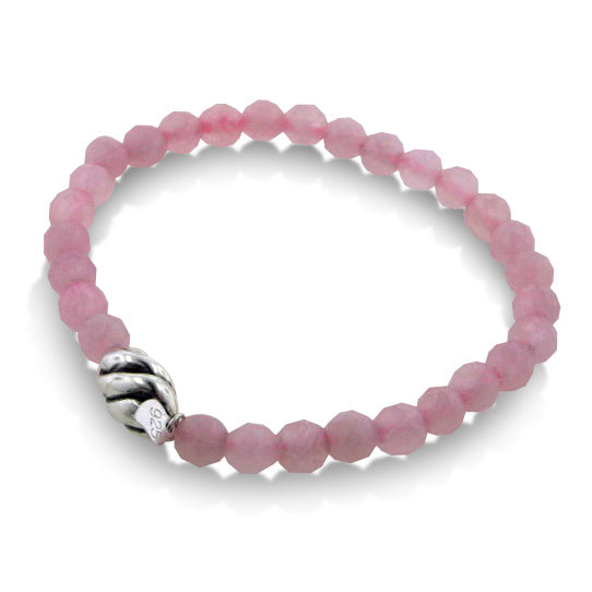 "Genuine Beaded Rose Quartz and Sterling Silver Stretch Bracelet - 7"" Wrist - Silver Insanity"