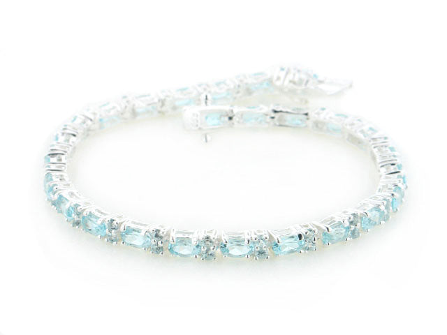 10.5cttw Natural Sky Blue Topaz Tennis Bracelet Sterling Silver 7.5