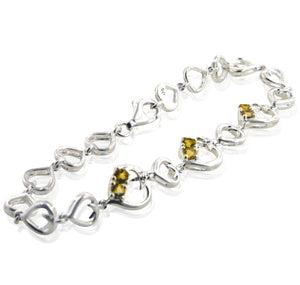 "Genuine Citrine and Linked Hearts Sterling Silver Bracelet 7"" - Silver Insanity"