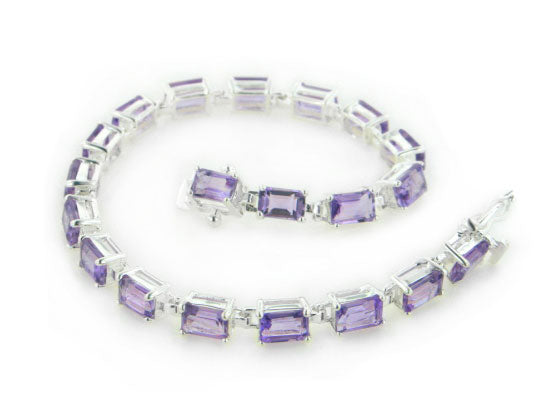 Sterling Silver and 11ct Genuine Amethyst Tennis Bracelet 7