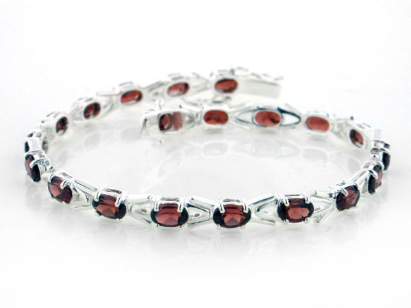 10cttw Sterling Silver Deep Red Garnet Tennis Bracelet - 7
