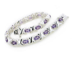 Sterling Silver Elegant X Link and Genuine Oval Amethyst Bracelet - 7.5""