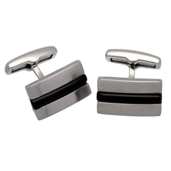 Black Stripe Curved Rectangular Swivel Back Brushed Stainless Steel Cufflinks - Silver Insanity
