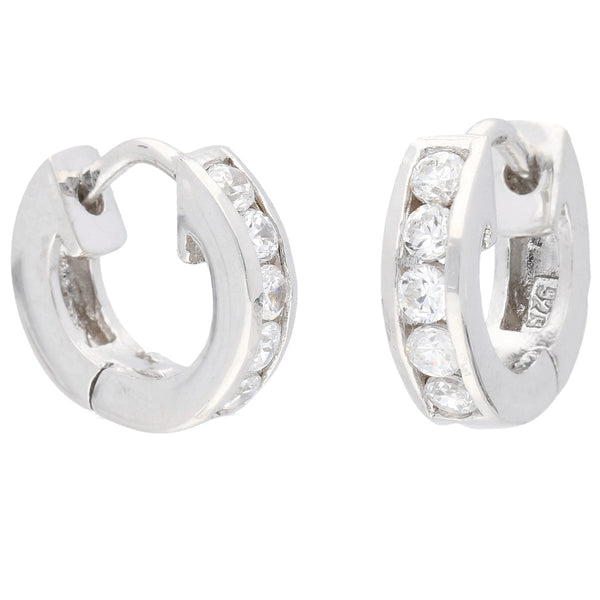 Tiny CZ Ear Huggers Sterling Silver Huggie Hoop Earrings - Silver Insanity