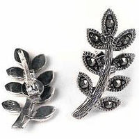 Marcasite Willow Leaf Sterling Silver Stud Post Earrings - Silver Insanity