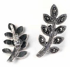 Marcasite Willow Leaf Sterling Silver Stud Post Earrings