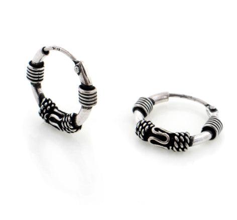Tiny 15mm Hoops Bali Wrapped Sterling Silver Neverending Hoop Earrings - Silver Insanity