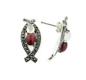 Sterling Silver Garnet, Moonstone, and Marcasite Curved Post Earrings - Silver Insanity