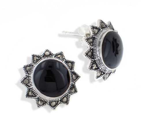 Sterling Silver Sun Earrings with Marcasite and Black Onyx - Silver Insanity