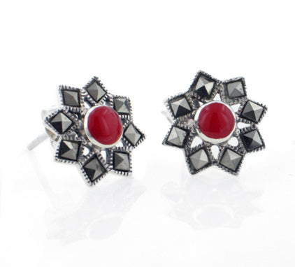 Starburst Stud Earrings Marcasite Coral Sterling Silver