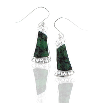 Natural Gemstone Ruby in Zoisite Sterling Silver Dimpled Hook Earrings - Silver Insanity