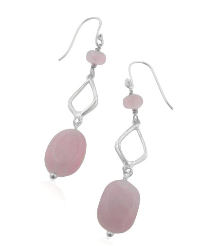 Handcrafted Diamond-Link and Pink Rose Quartz Sterling Silver Hook Earrings - Silver Insanity