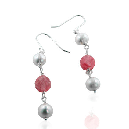 Cultured Pearl and Watermelon Pink Crystal Sterling Silver Beaded Earrings - Silver Insanity